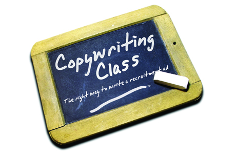 copywriting class, chalk board