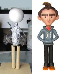 The armature and the finished sculpt.