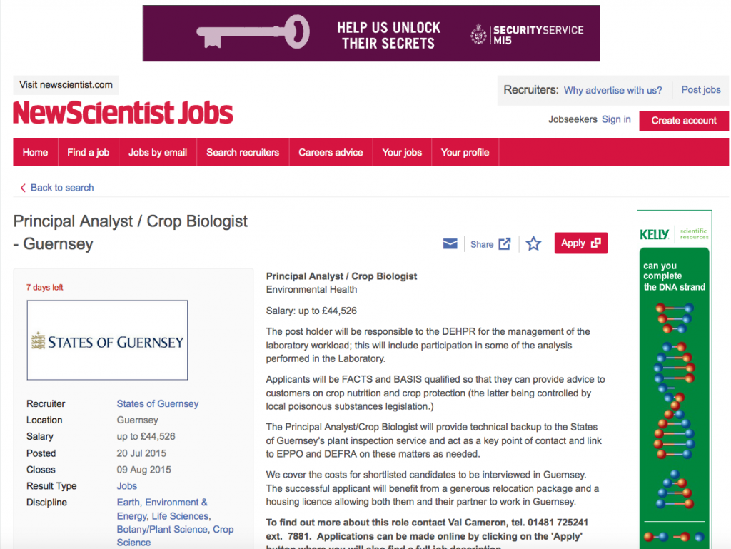 Job listing on The New Scientist